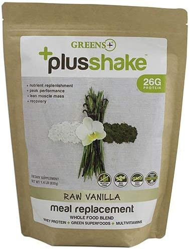 Greens PlusShake Vanilla Whey Protein and Organic Green Superfood Grass Fed 27g, 1.5 lb Bag