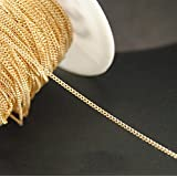 10ft Thin Gold Curb Chain- Bulk Necklace Jewelry Making (2mm-)