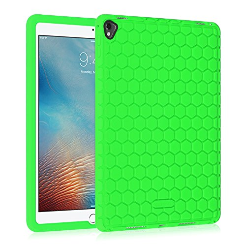 Price comparison product image Fintie iPad Pro 9.7 Case - [Honey Comb Series] Light Weight [Anti Slip] Shock Proof Silicone Protective Case Cover [Kids Friendly] for Apple iPad Pro 9.7-inch 2016 Model Tablet, Green