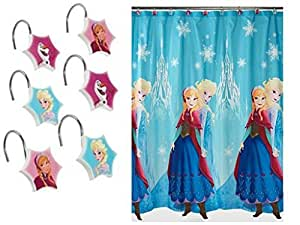 Amazon Com Disney Frozen Bathroom Shower Curtain And