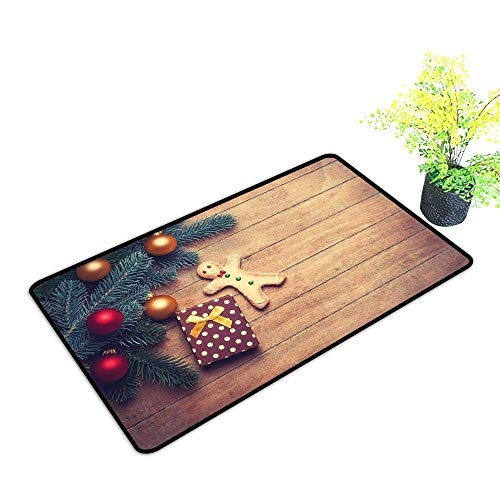 (Zmstroy Door mat Customization Gingerbread Man Pine Branches Delicious Cookie and Present on Wood Planks W31 xL47 Breathability Light Brown Hunter Green Red)