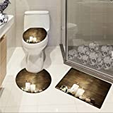 jwchijimwyc Spa 3 Piece Bathroom Rug Set Composition of Pure Candles Wooden Background with Stones and Flower Petals Print customized Brown and White