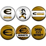 WinCraft Emporia State Hornets Official NCAA Metal Button Badge Pin Set 6 Pack 989024