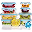 S Salient 18 Pieces Locking Lids Glass Food Storage Containers