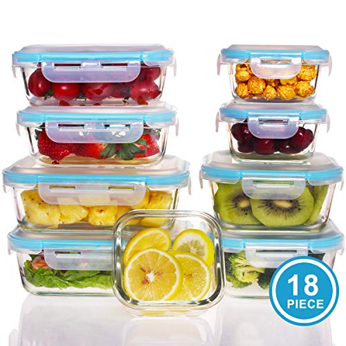 Glass Food Storage Containers with Lids - Glass Meal Prep Containers - Bento Box Lunch Containers Glass - Food Prep Containers Glass Food Containers With Lids for Kitchen & Home - BPA Free (9 Pack)