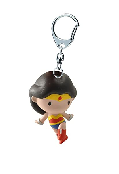 Funbox Media Wonder Woman Chibi Keyring | Plastoy 60702 Key Ring | Official DC Comics Merchandise, Red, Blue, Yellow, Black and Cream, 7cm