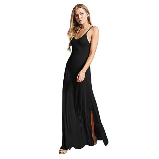 cde9c9250412 Paymenow Maxi Dress, Women Round Neck Solid Sleeveless Summer Classical Long  Dress Casual Loose Split