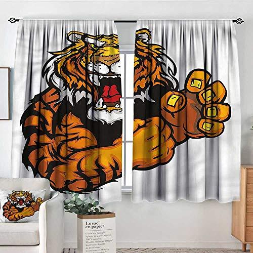 (Tiger,Kids Decor Curtain Cartoon Angry Wild Cat 42