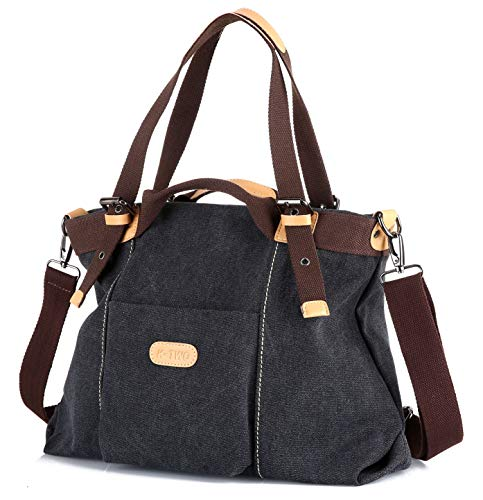 Z-joyee Women's Casual Vintage Hobo bags Canvas Shoulder Handbag Daily Purse Top Handle Tote Shopper Bags