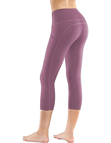 c28ad2d7a7e79 LifeSky High Waist Yoga Pants Capri Workout Leggings for Women with Pockets  Tummy Control Soft Pants