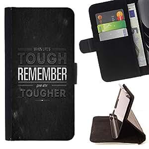 Momo Phone Case / Flip Funda de Cuero Case Cover - La vida dura Recuerde Tougher Cita Motivación - HTC Desire 626