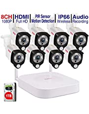 Tonton 1080P Full HD Wireless Security Camera System, 8CH NVR Recorder with 2TB HDD and 4PCS 2.0 MP Waterproof Outdoor Indoor Bullet Cameras with PIR Sensor, Audio Record and Clear Night Vision