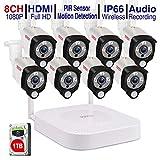 Tonton 1080P Full HD Wireless Security Camera System, 8CH NVR