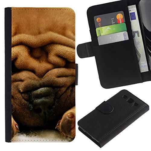 LASTONE PHONE CASE / Lujo Billetera de Cuero Caso del tirón Titular de la tarjeta Flip Carcasa Funda para Samsung Galaxy S3 III I9300 / Chinese Shar-Pei Dog Fur Brown