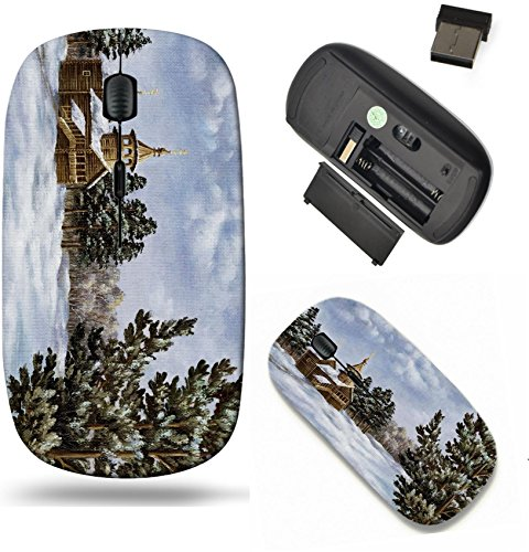 Liili Wireless Mouse Travel 2 4G Wireless Mice With Usb Receiver  Click With 1000 Dpi For Notebook  Pc  Laptop  Computer  Mac Book Picture Oil Paints On A Canvas Landscape With Pines And A Temple Russ