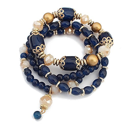 Winter's Secret European Style Palace Vintage Multilayer Elastic Alloy Beaded Wrist Pendant Dark Blue Stretch Bracelet (Green Air Forces Lime)