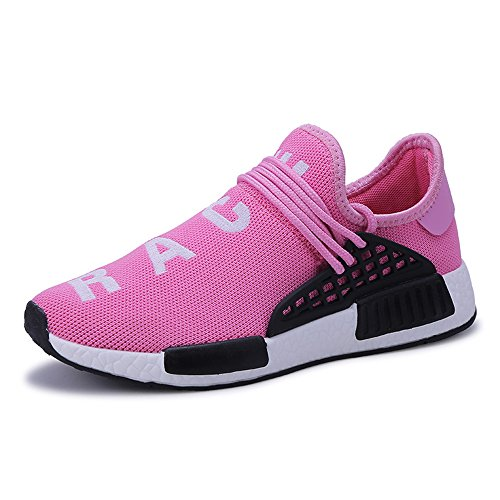 VOESPO Men and Women Summer Couple Lightweight Breathable Running Shoes Pink