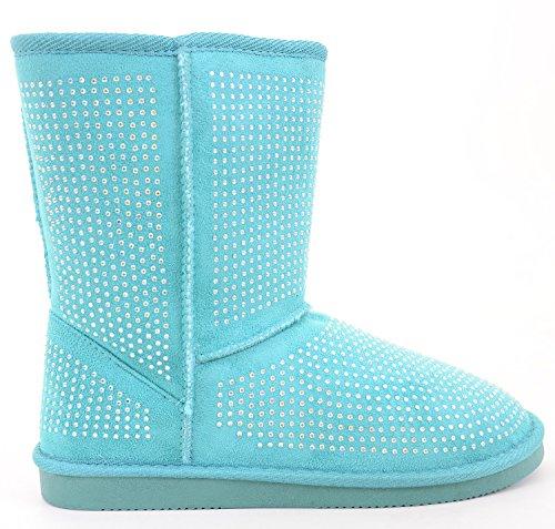 Fur Funky Toe Shearling Rhine Faux Round Fourever Blue Girls' Boot Pt1O14