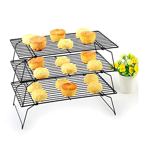 Stainless Steel Wire Can Be Folded 3 / Single-Layer Cake Cooling Rack Home Kitchen Baking Supplies Large Drying Barbecue Grill 3rd floor