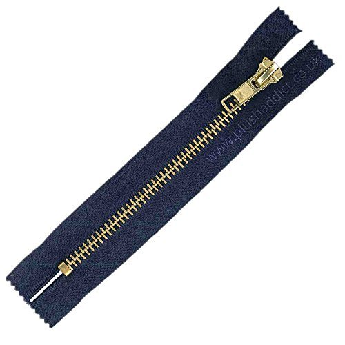 Brass Toothed Jeans Zip - Navy - 4 / 10cm by Plush - Jeans Addict