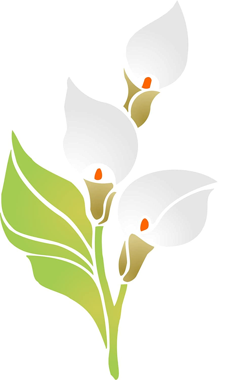 Plantilla de pared Arum Lily 16,5 x 26,5 cm, reutilizable, diseño de flores y ramo de cala, diseño de lirio - Uso en proyectos de papel, álbumes de recortes ...