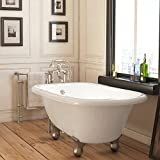 Luxury 54 inch Small Modern Clawfoot Tub in White with Stand-Alone Freestanding Tub Design, Includes Modern Brushed Nickel Cannonball Feet and Drain, from The Highview Collection