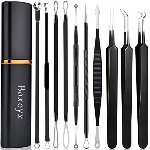 Pimple Popper Tool Kit – Boxoyx 10 Pcs Blackhead Remover Comedone Extractor Kit with Metal Case for Quick and Easy…