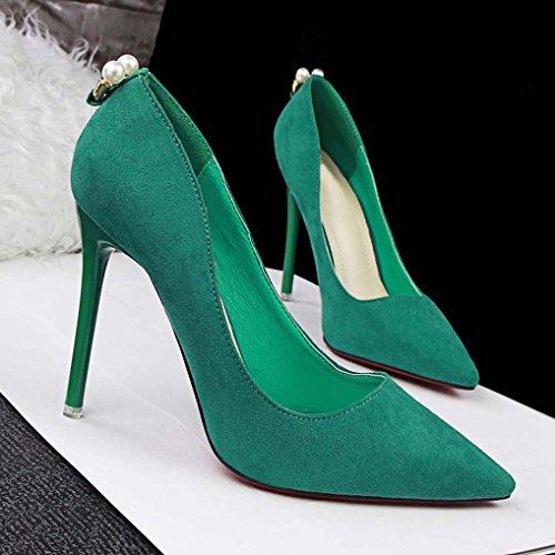 Escarpins Soirée OL Bout Talon Pointu OALEEN foncé Femme Vert Aiguille Chaussures Perles Suède Haut PxqdYBRn