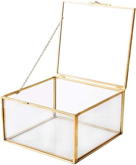 Golden Glass Jewelry Keepsake Square Box Home Decor Display Vintage Glass Jewelry Organizer Decorative Boxes Brass Clear Glass 5x5x3 Home Improvement