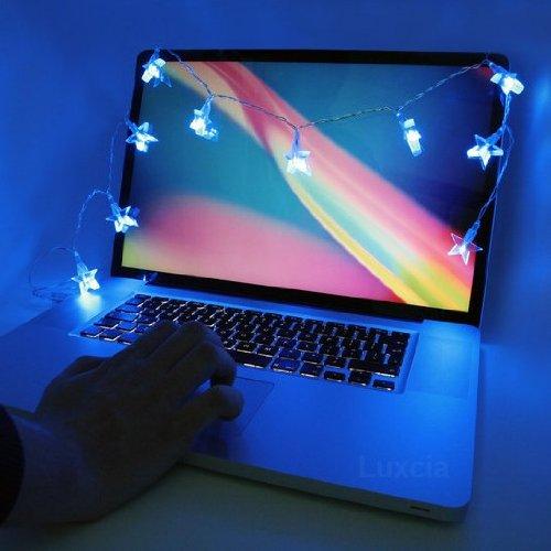 8 BLUE STAR USB CHRISTMAS LIGHTS LAPTOP COMPUTER OFFICE STRING DECORATION  XMAS - 8 BLUE STAR USB CHRISTMAS LIGHTS LAPTOP COMPUTER OFFICE STRING