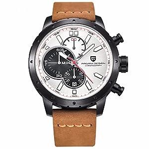 Men's Chronograph Leather Watch Quartz Sport Wristwatch Gift Brown White by Pagani Design