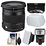 Sigma 17-70mm f/2.8-4 Contemporary DC Macro OS HSM Zoom Lens for Canon EOS DSLR Cameras with Flash + Soft Box & Diffuser + 3 UV/CPL/ND8 Filters + Kit