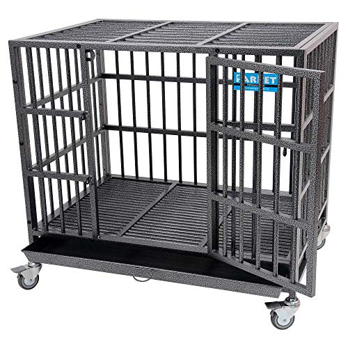 PARPET 37 Inch Empire Heavy Duty Dog Crate with Wheels/Steel Tray for Medium Dogs, Hammertone