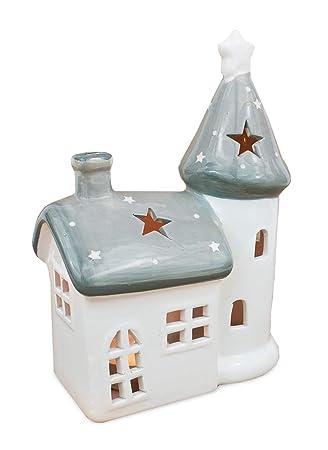 Teelichthalter Haus aus Keramik silber 13cm