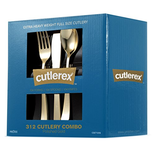 CUTLEREX 312-Piece Plastic Silverware - GOLD - Plastic Cutlery Set - Disposable Flatware - 104 Gold Forks, 104 Gold Spoons, 104 Gold Knives – Heavy duty, Solid, Durable Utensils Combo Value (Fork Solid Handle)