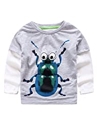 Happy Cherry Baby Boy's Long-sleeved Big Beetles Printing Knitted T-Shirts 2-7Y