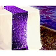 BalsaCircle TRLYC 12 by 60-Inch Purple Wedding Sequin Table Runners for Baby Shower