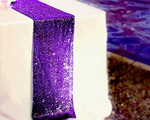 TRLYC 12 by 60-Inch Purple Wedding Sequin Table Runners for Baby (Purple Table)