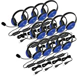 Califone 2800BLUSB-12L Listening First Stereo Headset with USB Plug (12-Pack), Blue; Adjustable hea