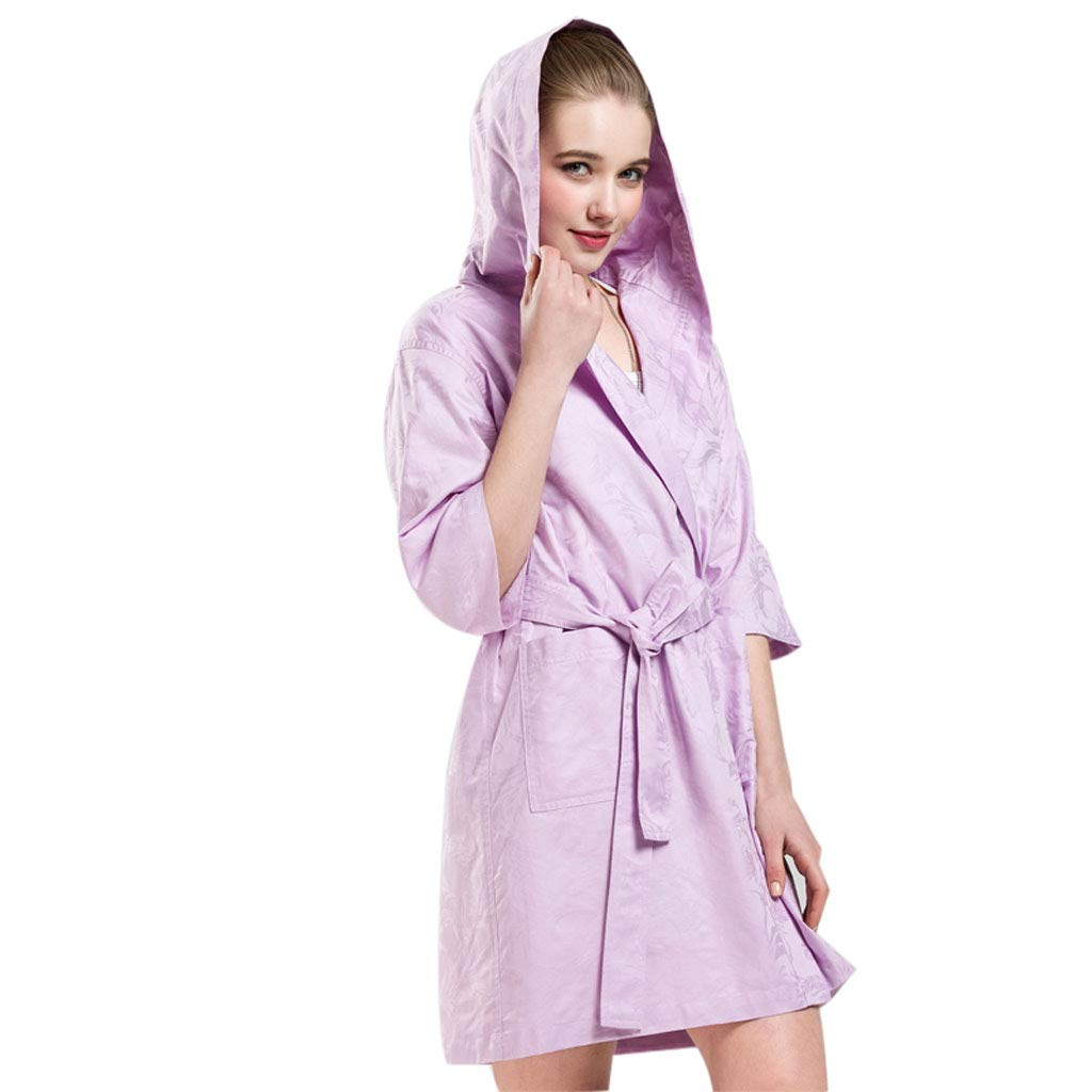 A Mesurn Spring and Summer Cotton Thin Bathrobes, YarnDyed Jacquard Craft, Environmentally Friendly Dyeing, ShortSleeved Hooded Home Robe