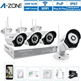 A-ZONE 4CH 960P NVR Wireless CCTV Security Camera System + 4xHD 1280TVL 1.0-Megapixel Weatherproof Wifi In/Outdoor IP Surveillance Camera Kit for Home, Office, Super Night Vision,NO HDD