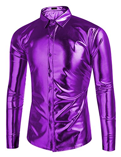 Coofandy Men's Metallic Shiny Nightclub Slim Fit Long Sleeve Button Down Party Shirts, Purple, Medium -