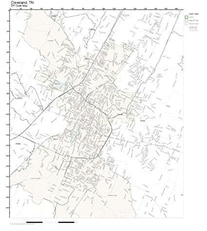 Amazon.com: ZIP Code Wall Map of Cleveland, TN ZIP Code Map ... on