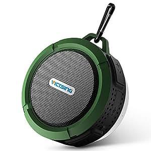 VicTsing Shower Speaker, Wireless Waterproof Speaker with 5W Driver, Suction Cup, Built-in Mic, Hands-Free Speakerphone - Army Green