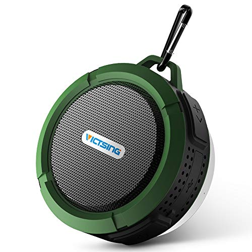 VicTsing Shower Speaker, Wireless Water-Resistant Speaker with 5W Driver, Suction Cup, Built-in Mic, Hands-Free Speakerphone - Army Green