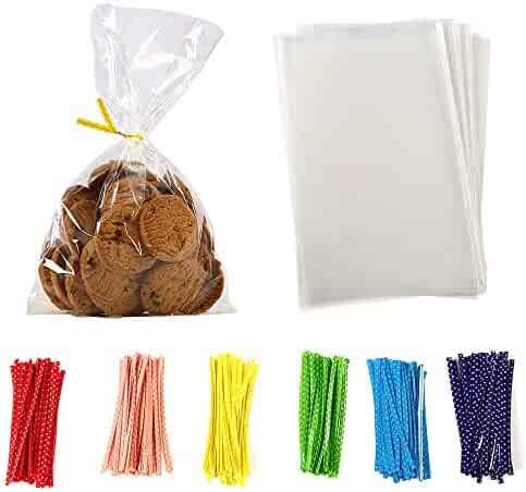 100 Pcs 8 in x 6 in Clear Flat Cello Cellophane Treat Bags Good for Bakery,Popcorn,Cookies, Candies,Dessert 1.4mil.Give Metallic Twist Ties!