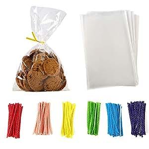 Amazon.com: 100 bolsas de celofán transparente para galletas ...