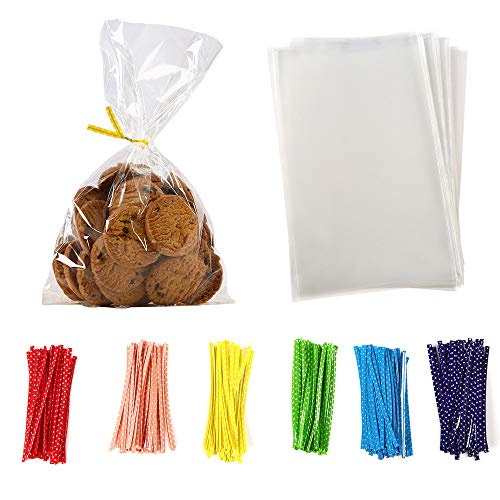 100 Pcs 10 in x 6 in Clear Flat Cello Cellophane Treat Bags Good for Bakery ,Popcorn ,Cookies, Candies ,Dessert 1.2mil.Give Metallic Twist Ties! ()