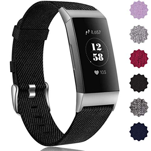 Maledan Compatible with Fitbit Charge 3 Bands for Women Men, Breathable Woven Fabric Replacement Accessory Strap Compatible with Fitbit Charge 3 and Charge 3 SE Fitness Activity Tracker, Large, Black