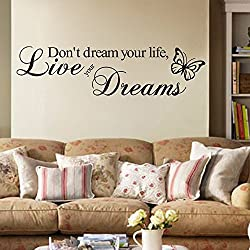 InspirationalDon't Dream Your Life, Live Your Dreams Quotes Wall Art Stickers Decorative Words Letters Simple Removable DIY Vinyl Wall Decals Living Room, Bedroom Mural